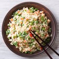 Fried Rice With Egg And Vegetables Closeup. Top View Stock Image - 48057821