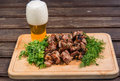 Grill Meat, Beer, And Green Stock Image - 48058121