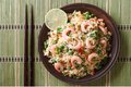 Fried Rice With Seafood And Egg Close-up, Horizontal Top View Stock Image - 48058981