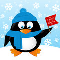 Cute Cartoon Penguin With Flag Stock Image - 48068131