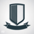 Military Award Icon. Vector Grayscale Defense Shield With Curvy Royalty Free Stock Photography - 48069317