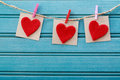 Hand-crafted Felt Hearts Hanging With Clothespins Royalty Free Stock Photos - 48070508