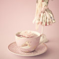 Rose On A Vintage Tea Cup Royalty Free Stock Photo - 48074605