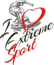 I Love Extreme Sport. Skateboarder And Hearts. Stock Photos - 48076493