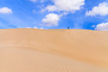 Sand Dunes In Boavista Desert With Blue Sky And Clouds, Cape Ver Royalty Free Stock Image - 48082876