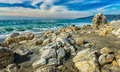 Rocks On Beach At Point Dume State Beach Stock Photography - 48085062