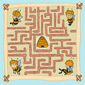 Maze Game: Help One Of The Bees Find Their Way Home Stock Photo - 48089310