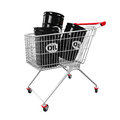Shopping Cart And Oil Barrels Royalty Free Stock Photos - 48092638