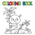 Coloring Book Of Little Panda On Bamboo Royalty Free Stock Photography - 48094977