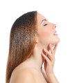 Profile Of A Beautiful Woman With Perfect Skin And Manicure Royalty Free Stock Photography - 48099157