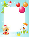 Christmas Frame With Snowman, Xmas Tree, Ball And Reindeer Stock Images - 48114624