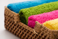 Colorful Towels In A Basket Stock Images - 48147134