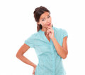 Girl In Blue Shirt Holding Chin And Wondering Stock Photos - 48159893
