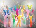 Happy People Silhouettes Dancing Royalty Free Stock Photo - 48173875