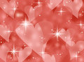 Red Abstract Bokeh Heart Valentines Day Card Background Illustration With Twinkling Stars And Sparkles Stock Photos - 48179243