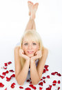 Posing On Red Rose Petal Field Stock Image - 4827341