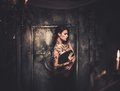 Tattooed Woman In Spooky Interior Royalty Free Stock Photos - 48214788