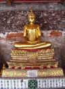Gold Color Buddha Statue In Buddhist Temple Royalty Free Stock Photo - 48222235