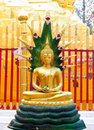 Gold-colored Buddha Statue In Buddhist Temple Stock Image - 48222461
