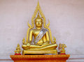 Gold-colored Buddha Statue In Buddhist Temple Royalty Free Stock Image - 48222496