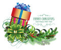 Christmas Present With Green Bow And Fir Branch Stock Photography - 48223822