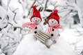 Two Smiling Snowmen Friends In The Snow Royalty Free Stock Photography - 48228537