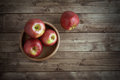 Apples In A Wooden Saucer Stock Photos - 48230903