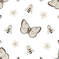 Flowers And Insects Seamless Pattern Royalty Free Stock Images - 48233699