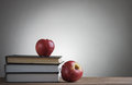 Books And Red Apples Stock Image - 48263611