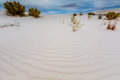 The Amazing Surreal White Sands Of New Mexico With Plants And Clouds Stock Image - 48263971