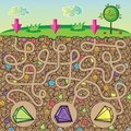 Maze For Children - Nature, Stones And Precious Stones Under The Ground Stock Image - 48264431