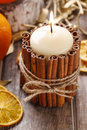 Candle Decorated With Cinnamon Sticks, Christmas Decoration Royalty Free Stock Image - 48271956