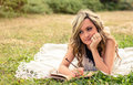 Romantic Girl Writing In A Diary Lying Down Royalty Free Stock Photos - 48275298