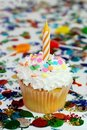 Celebration Cupcake With Candle Royalty Free Stock Image - 4837006
