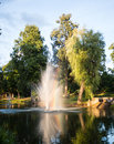 Fountain At Sunset With Rainbow Royalty Free Stock Photography - 48309757