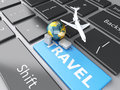 Suitcase, Airplane And Earth On Computer Keyboard. Travel Concep Stock Photography - 48314752