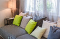 Grey Sofa With Green Pillows In Living Room Stock Photos - 48327703