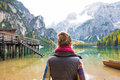 Young Woman On Lake Braies In South Tyrol, Italy Stock Photos - 48359753