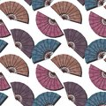 Seamless Background With Fans Stock Image - 48363791