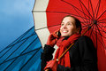 Brunette With Red Umbrella Royalty Free Stock Photos - 4848198