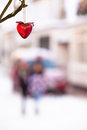 Winter Street Scene Background With Heart Royalty Free Stock Photo - 48410385