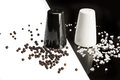 Salt And Pepper Shakers, Black Pepper And Salt Crystals Royalty Free Stock Image - 48412566
