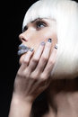 Elegant Beautiful Girl In A White Wig, With The Lips Of Rhinestones And Festive Manicure. Beauty Face. Stock Photos - 48418343