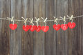 Red Hearts On Line Royalty Free Stock Photo - 48418895