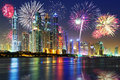 New Years Fireworks Display In Dubai Royalty Free Stock Photos - 48419708