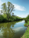 Beautiful Summer Landscape With Calm Small River And Blue Sky Stock Photography - 48422362