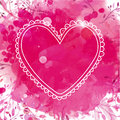 White Hand Drawn Heart Frame. Artistic Pink Watercolor Splash Background With Leaves. Creative Design Concept For Valentines Day H Royalty Free Stock Photo - 48423605
