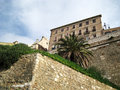 Medieval Fortified Town With Walls View From Below With Blue Sky Royalty Free Stock Photo - 48427685