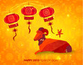 Happy Chinese New Year Year Of Goat Stock Image - 48427971