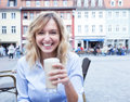 Happy Woman With Curly Blond Hair With Coffee Latte Macchiato Royalty Free Stock Images - 48428029
